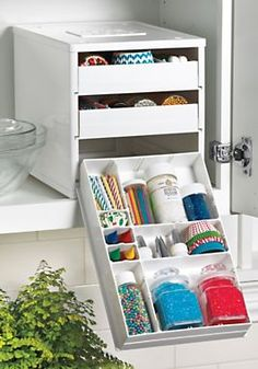 This cabinet's 18 dividers let you customize the drawer configurations. Nonslip feet hold it firmly in place when you pull out the tilt-down...