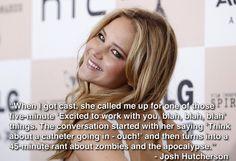 Josh Hutcherson on his first conversation with Jennifer Lawrence.
