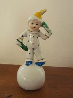 Porcelain Clown Boy on Ball Vintage Hand Painted