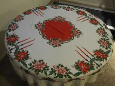 Vintage Christmas Tablecloth/Pointsettia Tablecloth by Folkaltered, $15.00