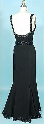 c. 1930's Black Silk Jersey Evening Gown Trimmed in Black Bugle Beads!