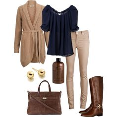 """""""Navy and Creme Fall Outfit"""" by natihasi on Polyvore - INSPIRED: tank sweater, navy top, tan skinny jean, brown boot/bag gold jewelry"""