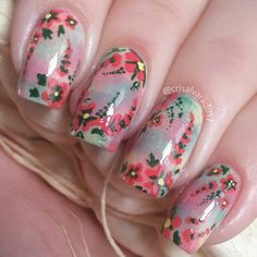 Monet's nails. Inspired by @just1nail Find me on Instagram @crisalvarado17 :)