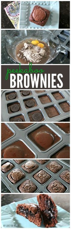 Super yummy chocolate brownie dessert recipe with a surprise treat inside! These are a great idea and must try desserts!