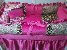 Animal print Crib Bedding. Cheetah, Giraffe, Leopard and Zebra with Hot Pink. $315.00, via Etsy.