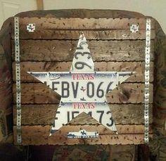 Texas star License plate Plaque Vintage Home decor