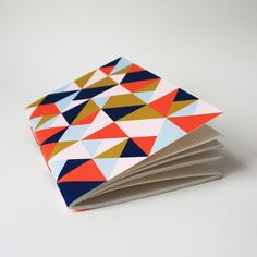 triangle jotter ... with navy orange and pink by paintedfishstudio, $6.00
