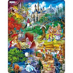 Bippity Boppity Boo. Can your name all of the fairy tales shown in this jigsaw puzzle? Your child will love sharing in the fantasy experience and will be surprised to discover hidden treasures of puzzle pieces shaped like a dove, dog, squirrel, and more! Fairy tales depicted include Sleeping Beauty, Little Red Riding Hood, Hansel and Gretel, Cinderella and Snow White. Larsen Puzzles remains one of the best STEM options in the jigsaw category for young children who are beginning to fine tune both Grimm Fairy Tales, All Nature, Red Riding Hood, Puzzle Pieces, Animals Beautiful, Illustration, Fantasy Art, Jigsaw Puzzles, Fine Art