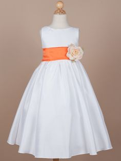 Gorgeous Poly-Shantung Flower Girl Dress with Organza Sash - Yellow/ Orange Flower Girl Dresses