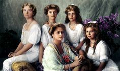 """""""The last Russian Empress and her four beautiful, tragic daughters, Grand Duchesses Olga, Tatiana, Anastasia and Maria, posing for an official portrait in 1913. """""""