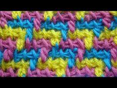 Трехцветный узор тунисское вязание крючком Tunisisan crochet pattern 42 - YouTube