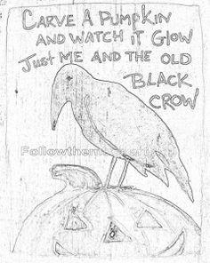Carve a Pumpkin Halloween Crow Saying pattern to make