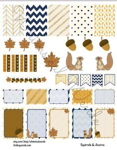 Friday Freebie! Printable Planner Stickers Kit Fall Squirrels & Acorns…