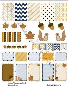 Friday Freebie! Printable Planner Stickers Kit Fall Squirrels & Acorns…