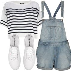 Take a look at 15 trendy overalls outfits for summer in the photos below and get ideas for your own outfits! White tees and denim overalls = summer style. Spring Outfits For School, Cute Summer Outfits, College Outfits, Outfits For Teens, Pretty Outfits, Cool Outfits, Casual Outfits, Converse Outfits, Converse Shoes