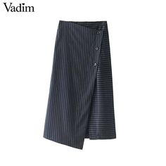 women buttons striped wrap skirt office lady work work wear mid calf casual wear chic midi skirts  #nofilter #instafashion #moda #instagramers #australianbrand #happiness #highfashion #bespecial #fashionlover #highlife