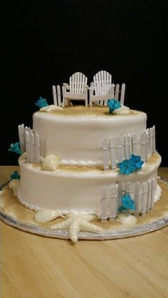 2 Tier Sandy Beach Theme with White Chocolate Shells, 2 Chair Topper, Fence and Flowers