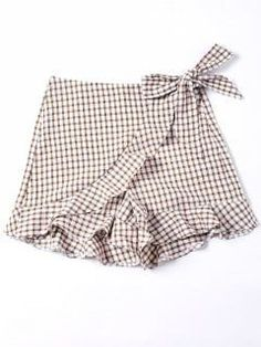 Bowknot Plaid Flat Zipper Mid Loose Fashion Self Tie Vichy Ruffle Shorts - Mode Féminine Gingham Shorts, Sexy Shorts, Patterned Shorts, Culotte Shorts, Girl Outfits, Fashion Outfits, Trendy Fashion, Baby Clothes Patterns, Kid Outfits