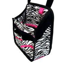 Hanging Car Organizer in zebra print with pink by TakeMeWith, $30.00