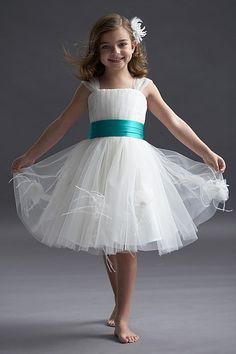 Flower Girls Seahorse Dress 48298, Ivory/Tiffany Fabric: tulle/duchess satin