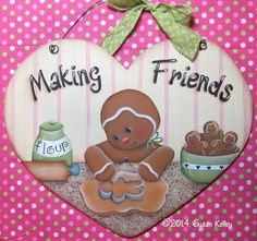Making Friends ePacket - Click Image to Close Gingerbread Decorations, Gingerbread Man, Gingerbread Cookies, Christmas Candy, Christmas Art, Christmas Ideas, Tole Painting Patterns, Pintura Country, Country Paintings