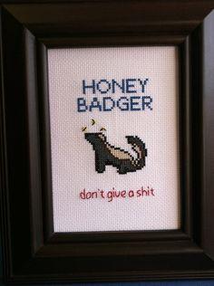 Honey Badger Cross Stitch by cspinney on Etsy, $35.00