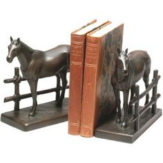 Horse with Fence Bookends - 0087-B, Durable
