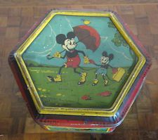 ORIGINAL TIN BOX MICKEY MOUSE, vintage antique 1930's Disney Mickey sports RARE