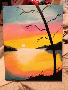 Sunset painting acrylic on canvas