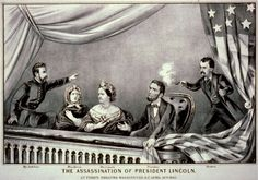 Shown in the presidential booth of Ford's Theatre, from left to right, are Henry Rathbone, Clara Harris, Mary Todd Lincoln, Abraham Lincoln, and his assassin John Wilkes Booth.