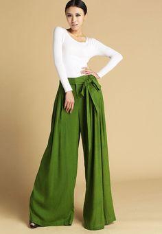 Loose linen  long trousers (472) from YanhuayueFashion by DaWanda.com