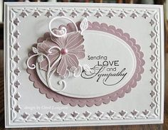 Beautiful Sympathy Card in Pale Plum and White
