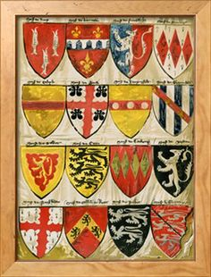 Shields of English Knights and Barons, Painted During the Reign of Edward Iii