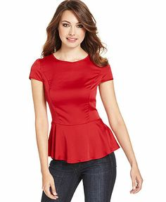 kensie Top, Short-Sleeve High-Neck Peplum