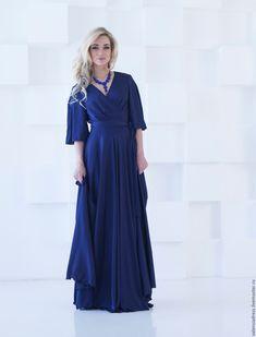 1f455b3124ba Платья ручной работы. Заказать Вечернее платье в пол, синее шелковое платье  макси. Платья