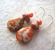 Orange Jasper Earrings Teardrops Freshwater by LeanneDesigns, $10.00 Shop Sale, Jasper, Jewerly, Drop Earrings, Orange, Trending Outfits, Unique Jewelry, Handmade Gifts, Vintage