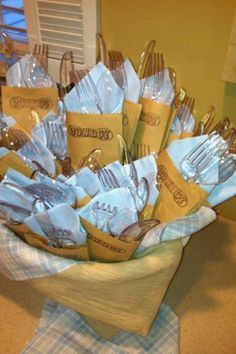 baby shower- all utensils and napkins wrapped ahead of time Baby Shower Parties, Baby Shower Themes, Shower Ideas, Baby Party, Cowboy Baby Shower, Baby Boy Shower, Jordan Baby Shower, Western Babies, Serpentina