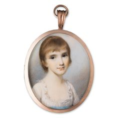 Portrait miniature of a Young Girl, wearing white dress with frilled neckline and blue sash and gold hoop earrings.  George Engleheart (1750-1829)