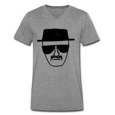 """Heisenberg sketch from """"Breaking Bad"""" on a men's premium v neck t shirt. Sophisticated and tailored, this v-neck style is a great alternative to your basic crew-neck t-shirt without losing any of the comfort. The super soft jersey knit fabric makes this stylish v-neck a comfortable wear. Made from 100% combed ringspun cotton with a fabric weight of 4.2 oz. Once your purchase is complete, we print your product on-demand, just for you... Cheap T Shirts, Cool Shirts, Breaking Bad Shirt, Shirt Style, V Neck T Shirt, Graphic Tees, Just For You, Heisenberg, Mens Fashion"""