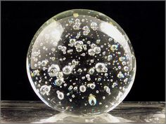 Art Glass Paperweights | Large Bubble Inclusion Art Glass Paperweight