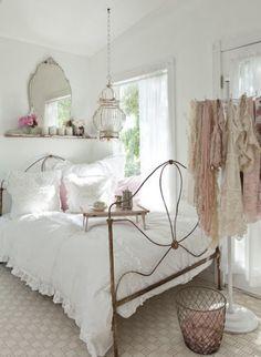 cottage bedroom - mirror on shelf
