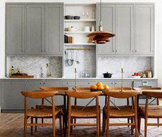 gray cabinets, single wall kitchen, brass fixtures, copper light fixture