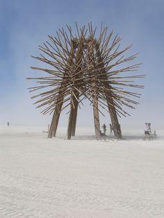 Burning man sculpture