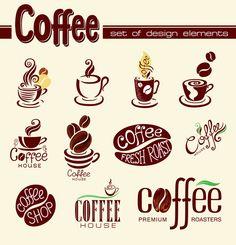 Creative Coffee logo design elements vector