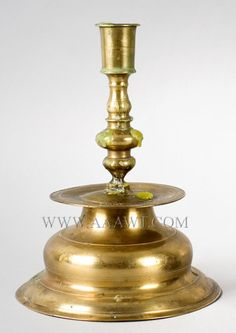 Trumpet Base Brass Candlestick Scandinavian Circa 1650 to 1675 Candle cup above baluster on lathe turned plinth $975