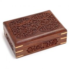 Ornate Wooden Tarot/Angel Card Box with Brass Corners  http://www.holisticshop.co.uk/products/brass-wooden-box
