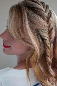 Side Fishtail Braid =============== If you have medium length, thick hair then this style is surely for you. This fishtail braids on the sides will add more charm in your looks, especially on your first date or a romantic candlelight dinner.  www.dressrepublic...