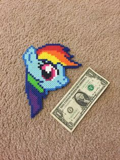 BIG Rainbow Dash head perler magnet, My Little Pony Bead Sprite Art