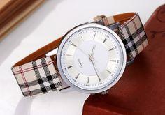 Zegarek w kratkę srebrny elegancki