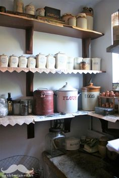 How to recreate a Victorian pantry: vintage pantries can be much more practical … – Own Kitchen Pantry Larder Cupboard, Kitchen Cupboards, Kitchen Pantry, Small Cupboard, Kitchen Stove, Cupboard Doors, Kitchen Items, Victorian House Interiors, Victorian Kitchen